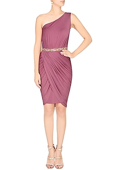 Purple Wrap Drape Dress by Pernia Qureshi