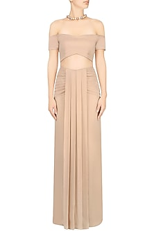 Sand Off Shoulder Crop Top and Skirt by Pernia Qureshi