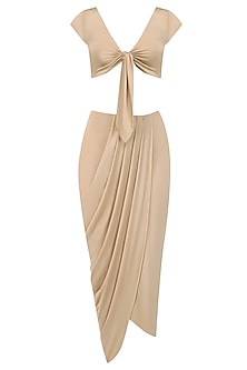 Sand Tie Up Crop Top and Sand Draped Skirt by Pernia Qureshi