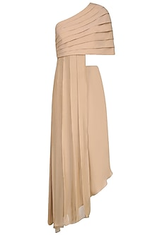 Sand One Shoulder Cape and Skirt