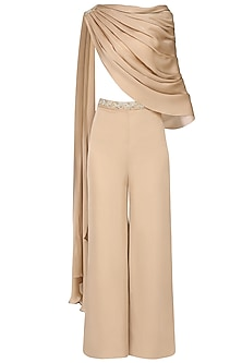 Sand Cape with Sand Culottes and Ivory Bustier