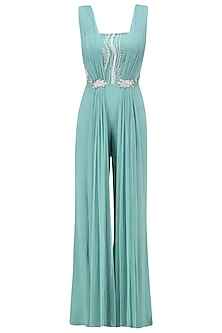 Teal Jumpsuit with Draped Panels
