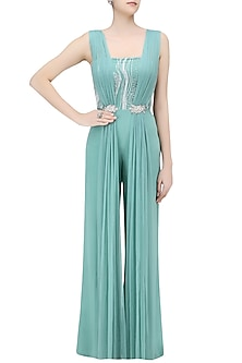 Teal Jumpsuit with Draped Panels by Pernia Qureshi