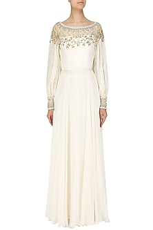 Ivory Embroidered Pouf Slevees Anarkali by Pernia Qureshi