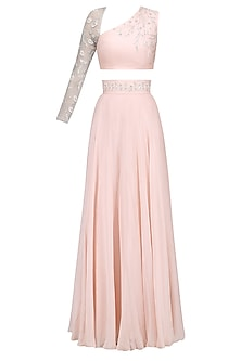 Blush Lehenga with One Sleeve Blouse by Pernia Qureshi