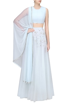 Ice Blue Lehenga with Ruched Blouse by Pernia Qureshi