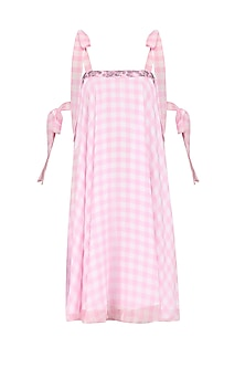 Pink Checkered Swing Dress