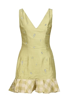 Pale Olive Ruffled Mini Dress by Pernia Qureshi