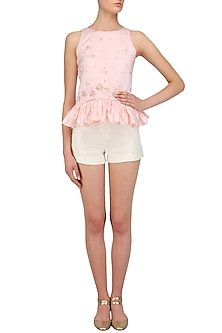 Pale Pink Embroidered Top by Pernia Qureshi