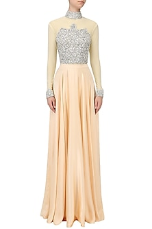 Beige Embroidered Bodysuit and Lehenga by Pernia Qureshi