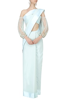 Ice Blue Saree with Off Shoulder Embroidered Blouse by Pernia Qureshi