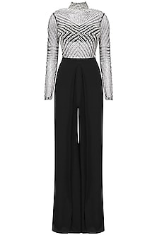 Black Embroidered Bodysuit and Pleated Pants by Pernia Qureshi