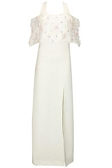 White Floral Embellished Dress