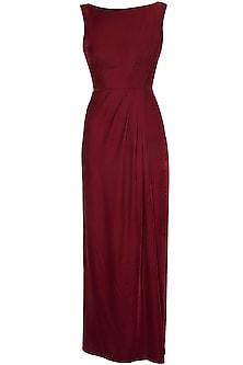 Maroon Floor Length Pleated Velvet Gown