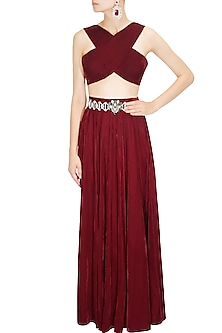 Maroon Draped Crossover Top and Skirt Set by Pernia Qureshi