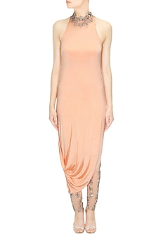 Peach Asymmetric Drape Dress and Crystal Embellished Pants by Pernia Qureshi