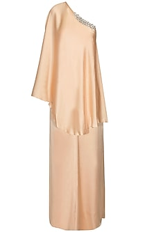 Peach Crystal Embellished One Shoulder Cape and Palazzo Pants
