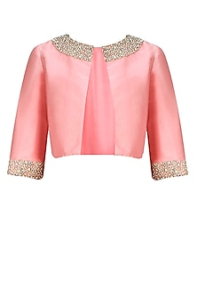 Dusty Pink Pearl and Rhinestone Embroidered Tafetta Bolero by Pernia Qureshi