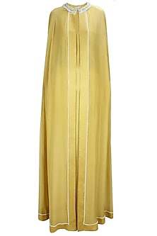 Gold Embroidered Trapeze Line Cape