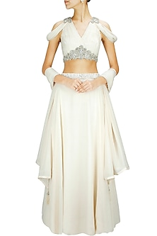 Ivory Crystal and Pearl Embellished Lehenga Set by Pernia Qureshi