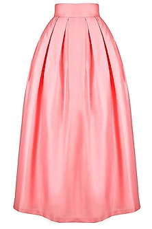 Dusty Pink Box Pleat Taffeta Skirt with Sash by Pernia Qureshi