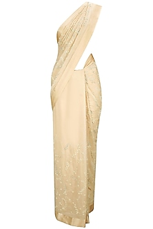 Soft Peach Pearl and Crystal Floral Embroidered Sari with Pearl Sprinkle Sleeveless Blouse