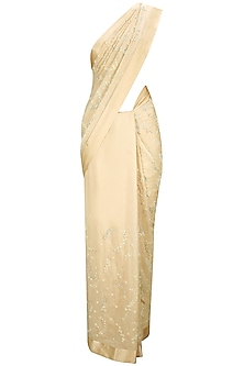Soft Peach Pearl and Crystal Floral Embroidered Sari with Sweetheart Neck Blouse