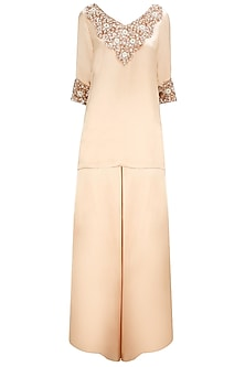 Soft Peach Crystal and Sequin Embellished Kurta with Satin Palazzos