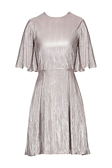 Metallic fluted pleates short dress