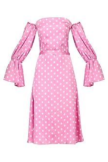 Pink polka off shoulder dress