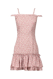 Off white and pink floral printed dress