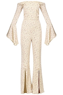 Beige printed jumpsuit by PERNIA QURESHI