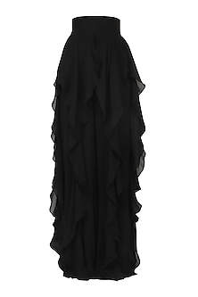 Black ruffled panel pants