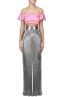 Grey metallic fluted pleates pants by PERNIA QURESHI