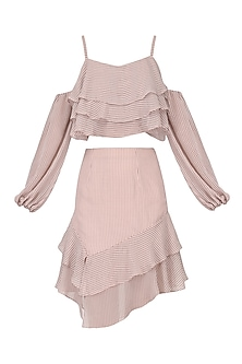 Pale pink polka top with ruffled skirt set