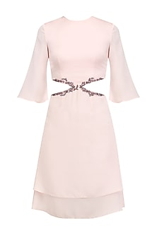Pale Pink Cutout Dress by Pernia Qureshi