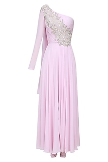 Lilac One Shoulder Embroidered Anarkali Set by Pernia Qureshi