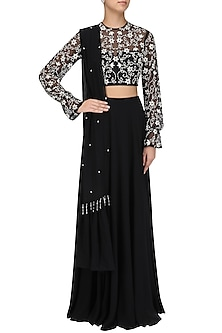 Black Embellished Lehenga Set by Pernia Qureshi