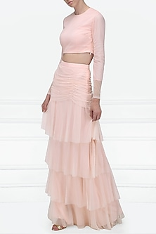 Pink Dotted Net Crop Top with Tiered Ruffle Skirt by Pernia Qureshi