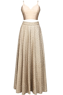 Rose gold sequins embellished skirt and crop top set