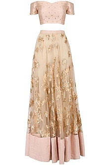 Peach Sequins Floral Embroidered Lehenga and Off Shoulder Blouse Set