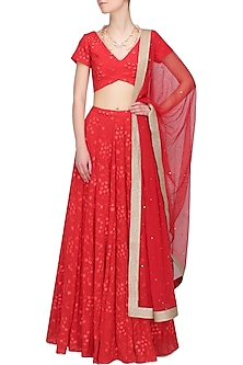 Red Floral Embroidered Lehenga and Blouse Set by Pernia Qureshi