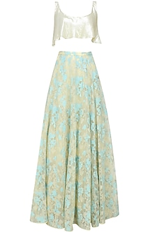 Beige and teal floral embroidered lehenga and sequins flounce crop top set