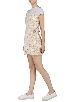 Beige Paisley Print Wrap Dress by Pernia Qureshi