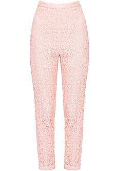 Blush Pink Lace High Waisted Trousers by Pernia Qureshi