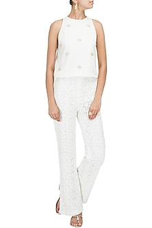 White Lace High Waist Trousers by Pernia Qureshi