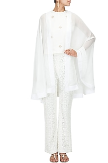 White Sheer Cape by Pernia Qureshi