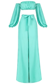 Sea Green Off Shoulder Crop Top with Palazzo Pants Set