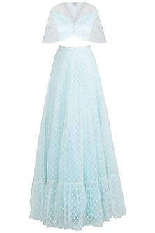 Pastel Blue Embroidered Blouse with Gathered Lehenga Skirt