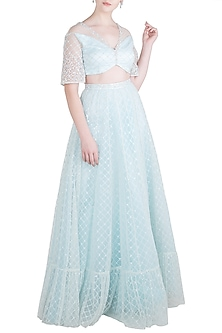 Pastel Blue Embroidered Blouse with Gathered Lehenga Skirt by Pernia Qureshi